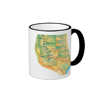 Map of Western United States Coffee Mugs