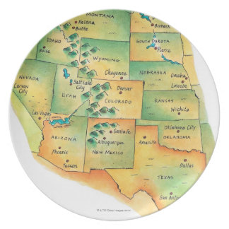 Map of Western United States Party Plate