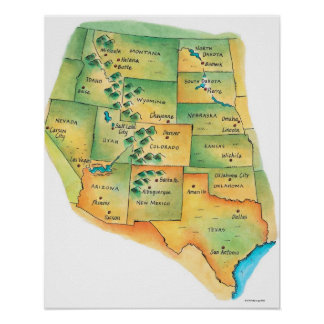 Map of Western United States Print