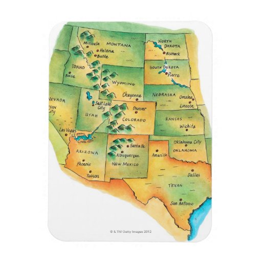 Map of Western United States Vinyl Magnets