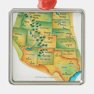 Map of Western United States Silver-Colored Square Decoration