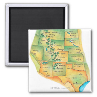 Map of Western United States Square Magnet