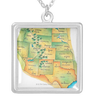 Map of Western United States Square Pendant Necklace