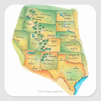 Map of Western United States Square Sticker