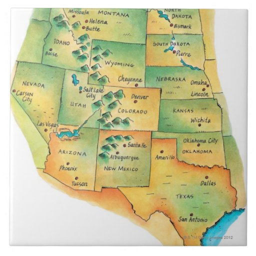 Map of Western United States Ceramic Tile