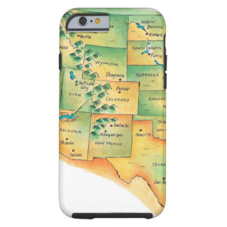 Map of Western United States Tough iPhone 6 Case