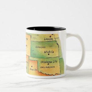 Map of Western United States Two-Tone Coffee Mug