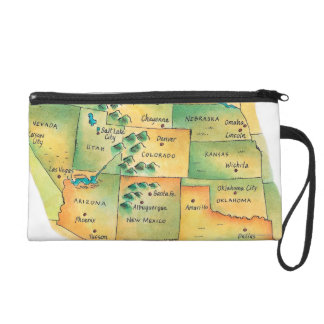 Map of Western United States Wristlet Purse