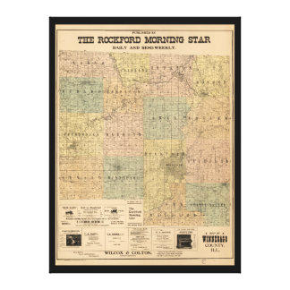 Map of Winnebago County Illinois (1902) Stretched Canvas Prints