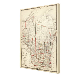 Map of Wisconsin Stretched Canvas Prints