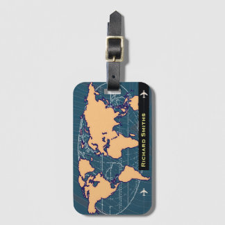 map-of-world air travel customized name luggage tag