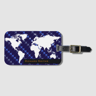 map of world airplane travel blue personalized luggage tag