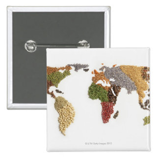 Map of world made of various seeds 15 cm square badge