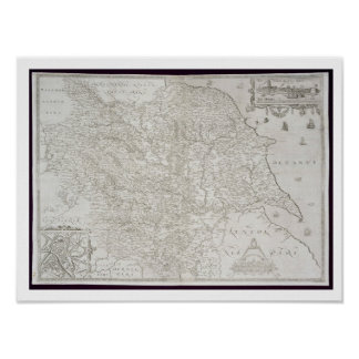 Map of Yorkshire, engraved by William Web, publish Poster