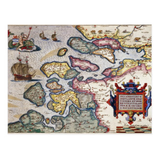Map of Zeeland, c.1560 Postcard