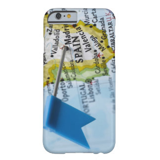 Map pin placed in Madrid, Spain on map, close-up Barely There iPhone 6 Case