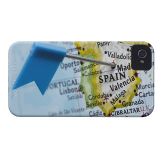 Map pin placed in Madrid, Spain on map, close-up iPhone 4 Cover