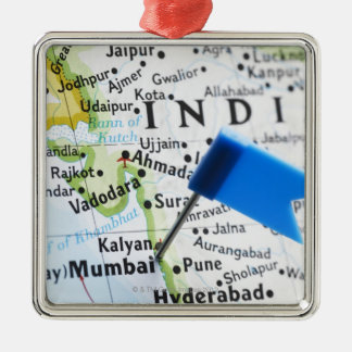 Map pin placed in Mumbai, India on map, close-up Metal Ornament