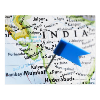 Map pin placed in Mumbai, India on map, close-up Postcard