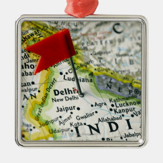Map pin placed in New Delhi, India on map, Metal Ornament