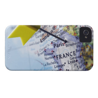 Map pin placed in Paris, France on map, close-up iPhone 4 Case-Mate Case