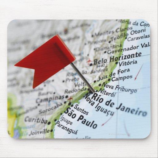 Map pin placed in Rio de Janeiro, Brazil on map, Mousepads