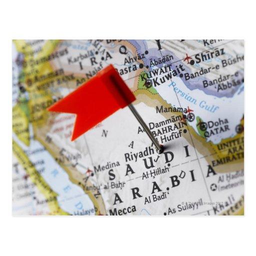 Map pin placed in Riyadh, Saudi Arabia on map, Postcards