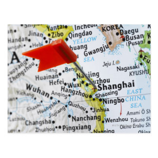 Map pin placed in Shanghai, China on map, Postcard