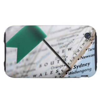 Map pin placed in Sydney Australia on map iPhone 3 Tough Cases
