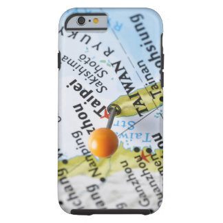 Map pin placed in Taipei, Taiwan on map, Tough iPhone 6 Case