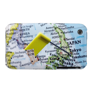 Map pin placed in Tokyo, Japan on map, close-up iPhone 3 Case-Mate Case