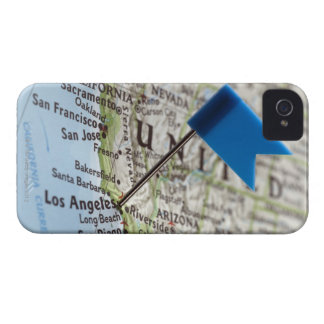 Map pin placed on Los Angeles, California on iPhone 4 Case-Mate Case