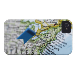 Map pin placed on New York City on map, close-up iPhone 4 Cover