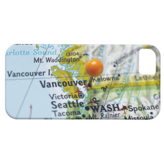 Map pin placed on Vancouver, Canada on map, iPhone 5 Covers