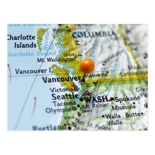 Map pin placed on Vancouver, Canada on map, Postcards