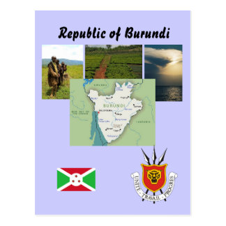 Map postcard of Burundi