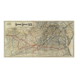 Map Richmond and Louisville RR Poster