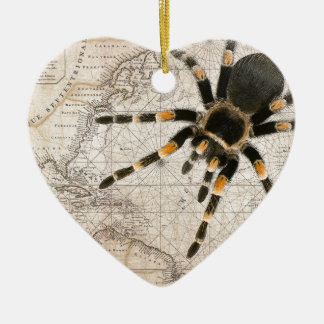map spider ceramic heart decoration