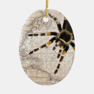 map spider ceramic oval decoration