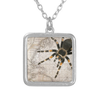 map spider silver plated necklace