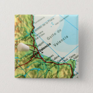 Map with pin pointing to city of Valencia in Spain