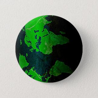 Map World Digital Earth Geography Green Shine Styl 6 Cm Round Badge
