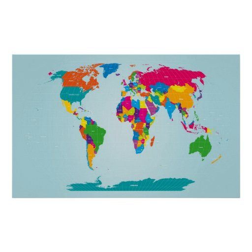 Mapf of the World Map Print