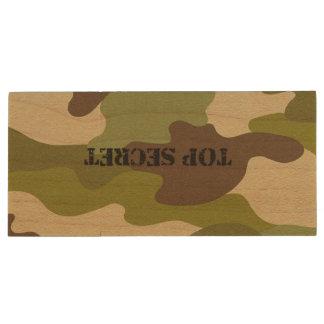 Maple, 8gb, Rectangle top secret camouflage Wood USB Flash Drive