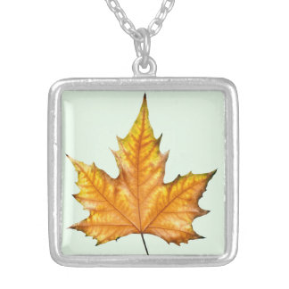 Maple autumn leaf square pendant necklace