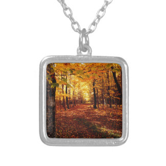 Maple Forest Fall Colour Silver Plated Necklace