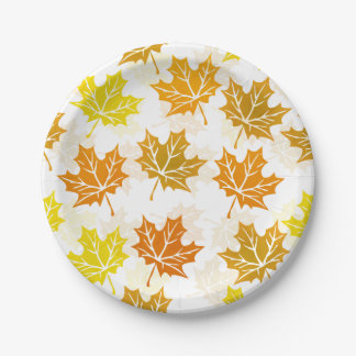 Maple Leaf Autumn Leaves Fall Foliage Thanksgiving Paper Plate