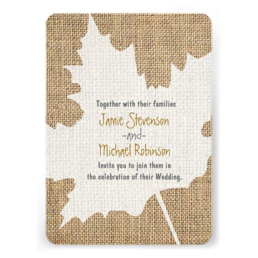 Maple Leaf Burlap Rustic Fall Wedding Invitation