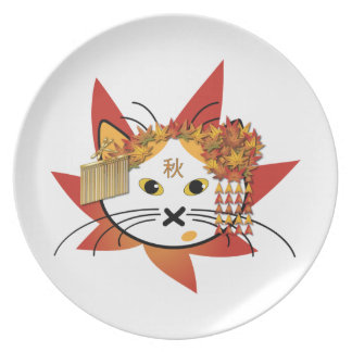 Maple-leaf Cat Plate