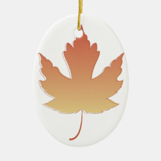 Maple Leaf Ceramic Oval Decoration
